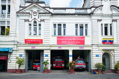 Fire station in Yangon. Fire station in downtown Yangon, Myanmar Stock Images