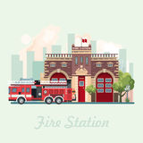 Fire statsion building vector illustration in flat design. Colorful style Stock Photo