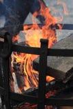 Fire in the steel basket Stock Photo