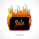 Fire sticker with the word. Hot price. Fire sticker with the word Sale. Lettering in a rectangle Royalty Free Stock Images