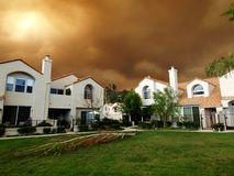 Fire Storm. Closes in on homes in Southern California Stock Photography