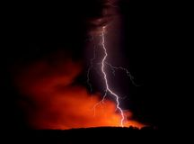 Fire storm. On the dark sky Royalty Free Stock Images