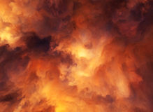 Fire Storm. Illustrated background of roiling red and yellow clouds of intense energy and searing heat Royalty Free Stock Photos