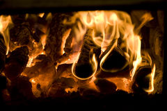 Fire in the stove. Royalty Free Stock Photography