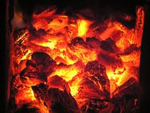 Fire in stove stock images