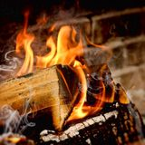 Fire in stove - close up Royalty Free Stock Image