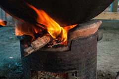 Fire on the stove. Firewood for the wood stove Stock Images