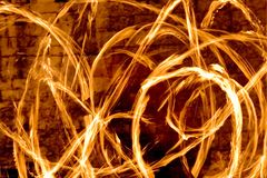 Fire streaks at night Royalty Free Stock Photos