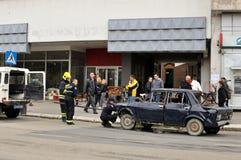 Fire on street in Zajecar,Serbia Stock Photos