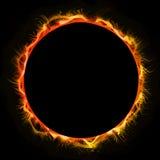 Fire Sun Circle Mandala, Black Background. Luminous Circle Mandala, Black Background Royalty Free Stock Photo