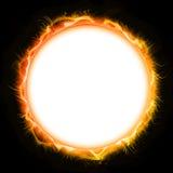 Fire Sun Circle Mandala, Black Background. Luminous Circle Mandala, Black Background Royalty Free Stock Photos