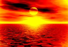 Fire sunset. In the sea. Illustration Stock Photos