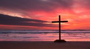 Fire Sunset Cross Stock Image