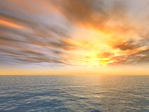 Fire Sunset Over Sea Stock Image