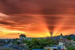 Fire sunset over Trinidad city Cuba royalty free stock images