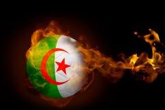 Fire surrounding algeria ball. Composite image of fire surrounding algeria ball against black Stock Photos