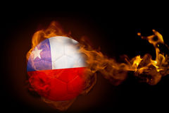 Fire surrounding chile ball. Composite image of fire surrounding chile ball against black Royalty Free Stock Photos