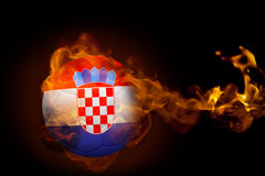 Fire surrounding croatia ball. Composite image of fire surrounding croatia ball against black Royalty Free Stock Photo