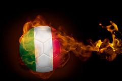 Fire surrounding italy ball. Composite image of fire surrounding italy ball against black Royalty Free Stock Photos