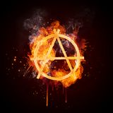 Fire Swirl Anarchy. Isolated on Black Background. Computer Design Royalty Free Stock Images