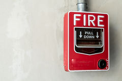 Fire switch on wall Royalty Free Stock Photo