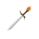 Fire sword. Of the knight on a white background Stock Images