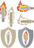 Fire sword. Different Icons of a fire sword Stock Photography