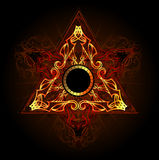 Fire symbol. Fire triangle esoteric symbol on a black background Stock Image