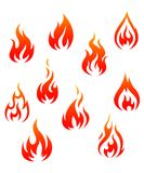 Fire symbols. Set of fire flames isolated on white background as warning symbols Royalty Free Stock Image