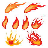 Fire symbols. Fire symbols collection on illustration Stock Photography