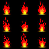 Fire symbols. Illustration of fire as a symbol on a black background Stock Images