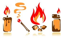 Fire symbols Royalty Free Stock Photos