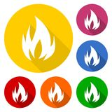 Fire symbols icon set with long shadow. Vector icon Stock Photo