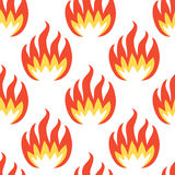 Fire Symbols Seamless Pattern. Orange and yellow fire symbols seamless pattern isolated on white background.  Spurts of flame. Retro style vector illustration Royalty Free Stock Image