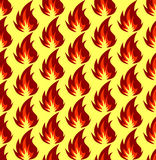 Fire symbols seamless pattern. Vector illustration. Fire symbols seamless pattern on yellow background. Vector illustration Stock Image