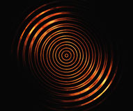 Fire symmetrical circles on a black backgrounds Stock Photo