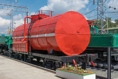 Fire tank wagon at station. Red fire tank wagon at station near platform Royalty Free Stock Images