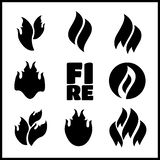 Fire tattoo . Flames set. Fire tattoo . Fire flames tattoo set Stock Photo
