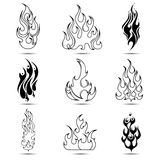 Fire Tattoo Icon Set Stock Photography