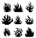 Fire tattoo. Set og black and white fire design elements for tattoo Stock Photos