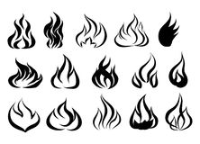Fire tattoo vector. Fire flames tattoo set. Illustration monochr. Ome flame Stock Photo