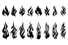 Fire tattoo vector set. Fire tattoo vector. Fire flames tattoo set. Illustration monochrome flame Royalty Free Stock Image
