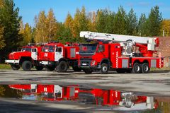 Red fire trucks. royalty free stock image