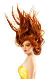 Fire teenager girl beautiful red hair Royalty Free Stock Photo
