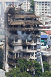 Fire in a ten-storey building in Bangkok Royalty Free Stock Photo