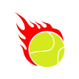 Fire tennis. Flame ball. Emblem game sport team Royalty Free Stock Images
