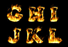 Fire text collection, alphabet of flame. Part 2. Fire alphabet, Fire text collection. Alphabet of flame Stock Photography