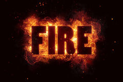 Fire text flame flames burn burning hot explosion Stock Photos
