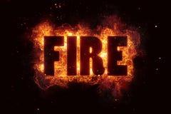 Fire text flame flames burn burning hot explosion. Explode Stock Photos
