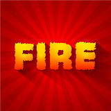 Fire text on a red background concept. Vector Stock Photos